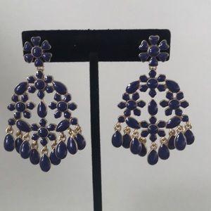 Navy drop earrings